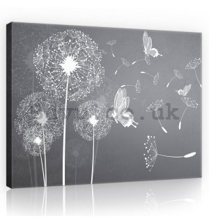 Painting on canvas: Dandelions and butterflies - 80x60 cm