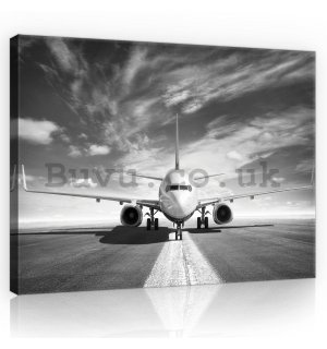 Painting on canvas: Airplane (black and white) - 80x60 cm