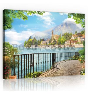 Painting on canvas: View of Lake Como - 80x60 cm