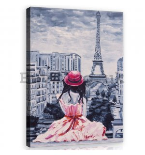 Painting on canvas: Girl in Paris - 60x80 cm