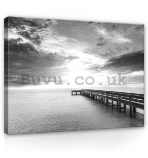 Painting on canvas: Long pier (black and white) - 80x60 cm
