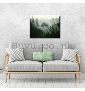 Painting on canvas: Fog over the forest (1) - 80x60 cm