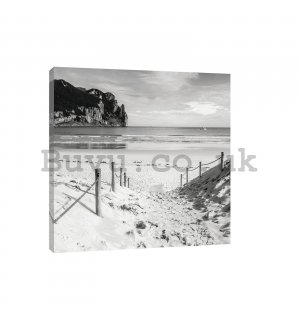 Painting on canvas: Sandy beach (black and white) - 80x60 cm