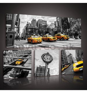 Painting on canvas: New York Taxi (1) - set 1pc 80x30 cm and 3pc 25,8x24,8 cm