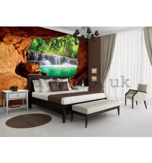 Wall Mural: Waterfall behind the cave - 254x184 cm