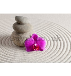 Wall mural vlies: Spa stones and orchid - 152,5x104 cm