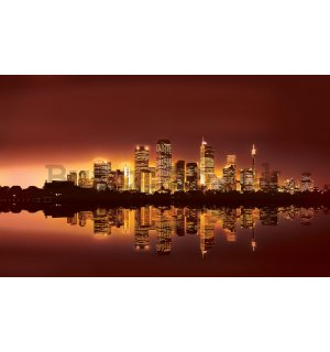Wall mural vlies: View on the city (sunset) - 152,5x104 cm