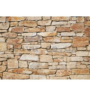 Wall mural vlies: Stone wall (orange) - 350x245 cm