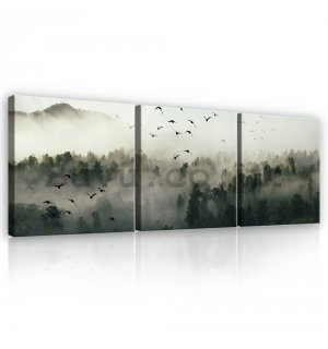 Painting on canvas: Fog forest) - set 3pcs 25x25cm