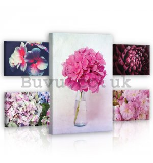 Painting on canvas: Pink flowers - set 1pc 70x50 cm and 4pc 32,4x22,8 cm