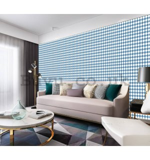 Vinyl wallpaper mosaic blue-white pattern