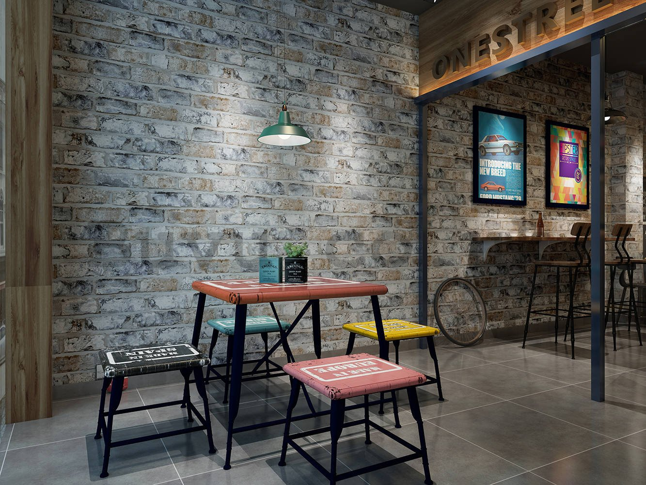Vinyl wallpaper brick wall - mix of colors (2)