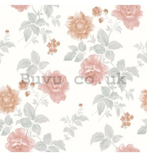 Vinyl wallpaper pink rose on white background