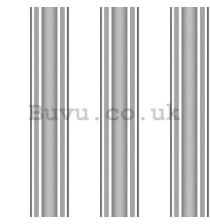 Vinyl wallpaper vertical stripes shades of dark gray on a white background