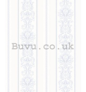 Vinyl wallpaper castle ornaments in light blue stripes