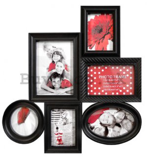 Photo frame - 6 windows, 10x10cm | 13x18cm | 10x15cm | 9x13cm (Black)