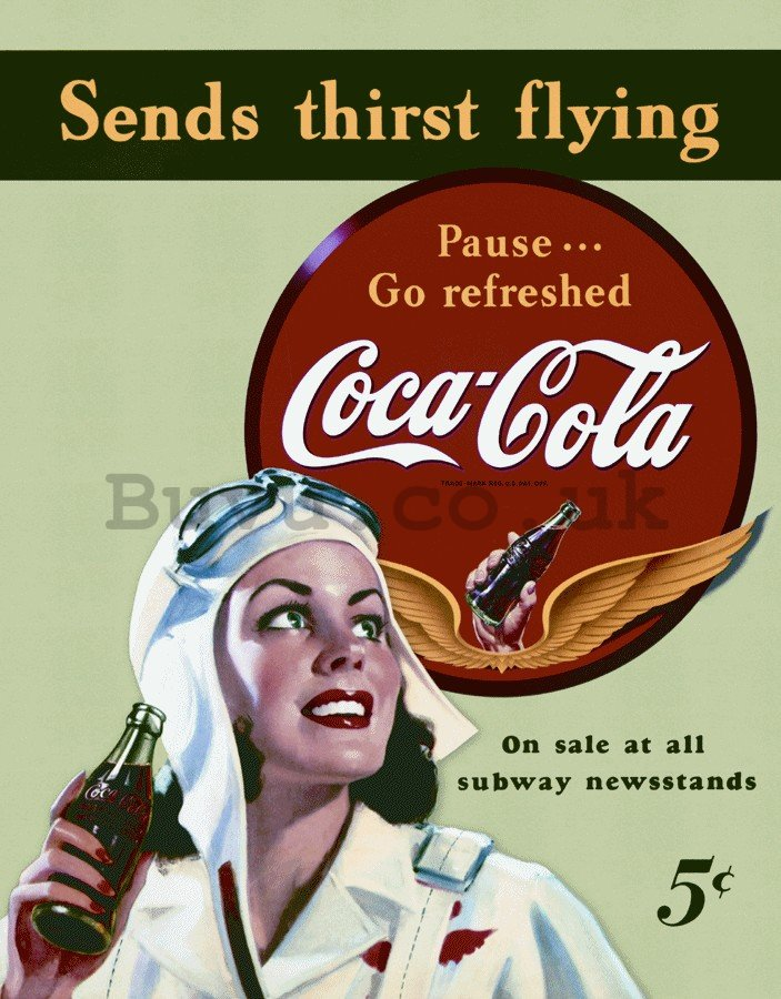 Metal sign - Coca-Cola (send thirst flying)