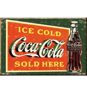 Metal sign: Coca-Cola (Ice cold, Sold Here, vintage) - 30x40 cm
