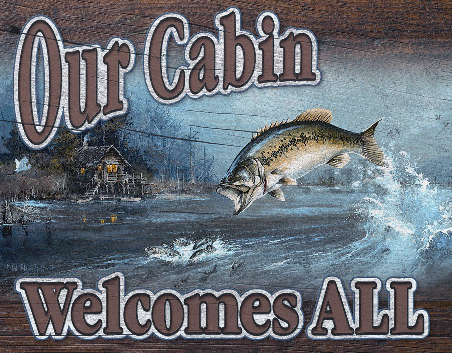 Metal sign - Fishing (Our Cabin)