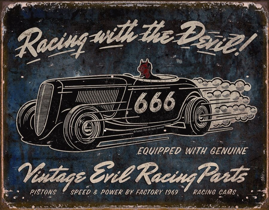 Metal sign - Racing with the Devil!