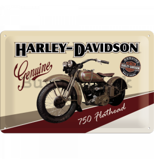 Metal sign: Harley-Davidson Genuine (750 Flathead) - 20x30 cm