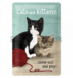 Metal sign: Cats and Kittens - 30x20 cm