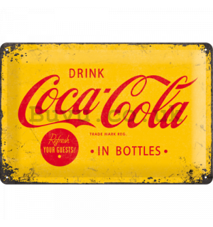 Metal sign - Coca-Cola (yellow logo)