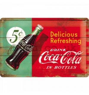 Metal sign: Coca-Cola (bicolor) - 20x30 cm