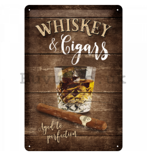 Metal sign - Whiskey & Cigars