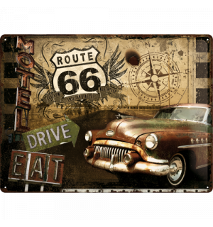 Metal sign - Route 66 (Drive, Eat)