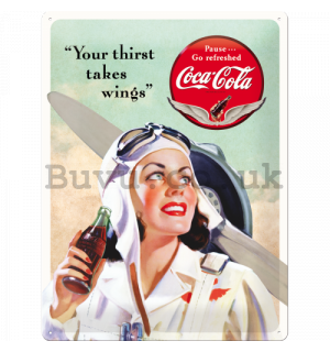 Metal sign - Coca-Cola (Thirst takes Wings)