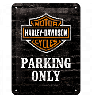 Metal sign: Harley-Davidson Parking Only - 20x15 cm