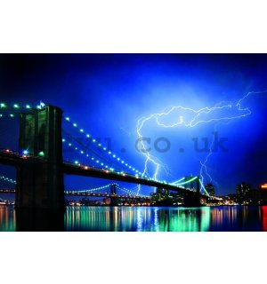 Poster - Broklyn Bridge Lightning