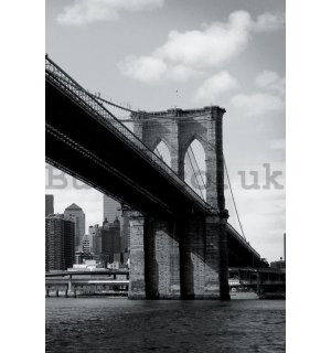 Wall Mural: Black and White Brooklyn Bridge (4) - 158x232 cm