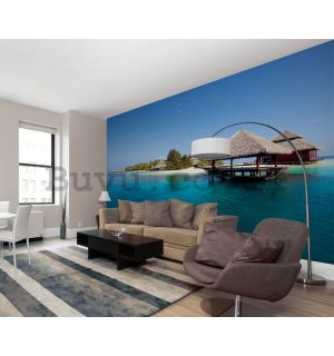 Wall Mural: Bungalows on the beach - 232x315 cm